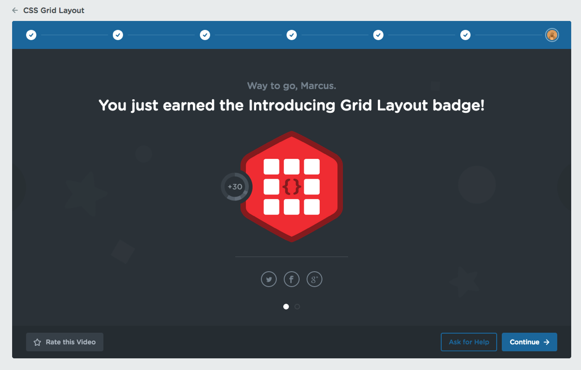 CSS Grid Badge awared for completeing the first course on Treehouse